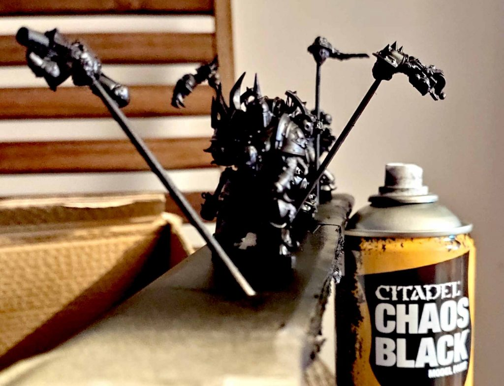 Drei Death Guards Chaos Black grundiert