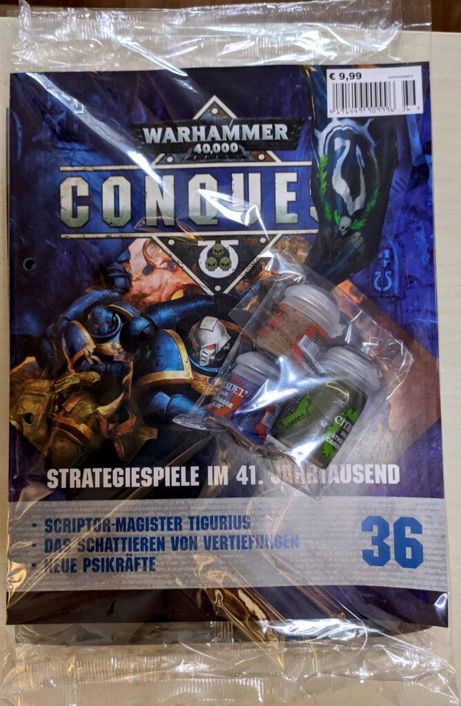 Warhammer 40.000 Conquest Ausgabe 36 - Steel Legion Drab, Athonian Camoshade und Maccrage Blue