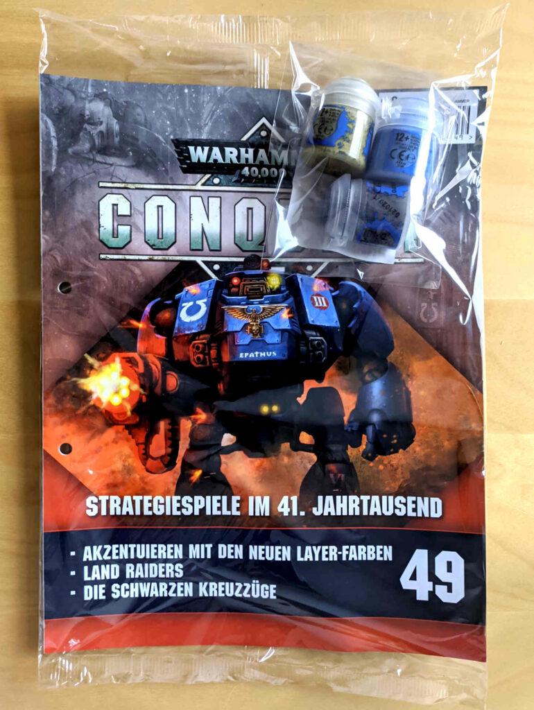 Warhammer 40.000 Conquest Ausgabe 49 - Farben => Ogryn Camo, Dawnstone, Calgar Blue - Cover